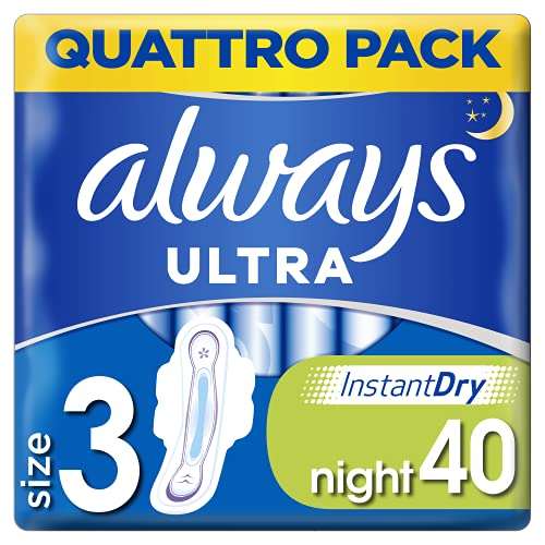 Always Ultra Night Sanitary Towels with Wings, 40 each