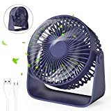 jovego mini ventilateur, ventilateur de poche table usb ventilateurs, 3 vitesse réglable silencieux rotation à 360 °fan, pour maison, table, bureau, camping, etc(bleu)