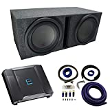 Universal Car Stereo Vented Port Dual 12' Alpine Type R R-W12D2 Sub Box Enclosure with R-A75M Amplifier & 0GA Amp Kit