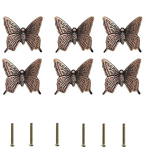 Tirador de Cajón, 6 Piezas Vintage Mariposa Manijas, Perillas de Mariposa Vintage, Aleación de Zinc de Simulación de Mariposa de Un Solo Orificio Tirador para Cocina Muebles Mesita de Noche Tocador
