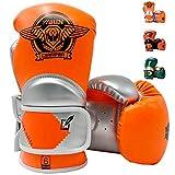 Huining - Guantoni da boxe per bambini da 3 a 15 anni, in pelle PU, per allenamento e allenamento, 113,4 g, 170,1 g (arancio e argento, 6 oz)