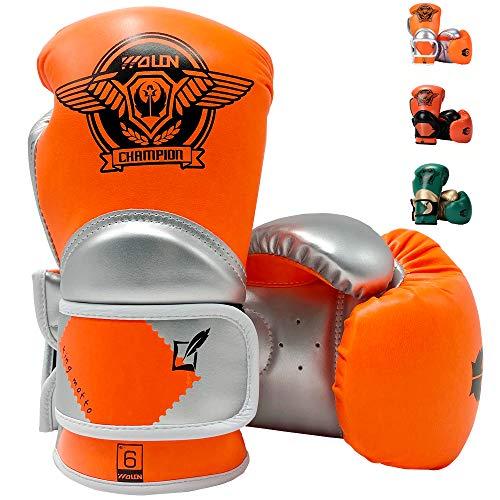 HUINING Kinder Boxhandschuhe, Training Boxhandschuhe für Kinder im Alter von 3-15 Jahren, Cartoon-Sparring-Trainingshandschuhe, Junior-Punch, PU-Leder, Schutz-Boxhandschuhe, 113 g, Orange, Silber, 4oz