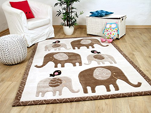 Lifestyle Kinderteppich Elefanten Familie Creme Beige !!! Sofort Lieferbar !!!