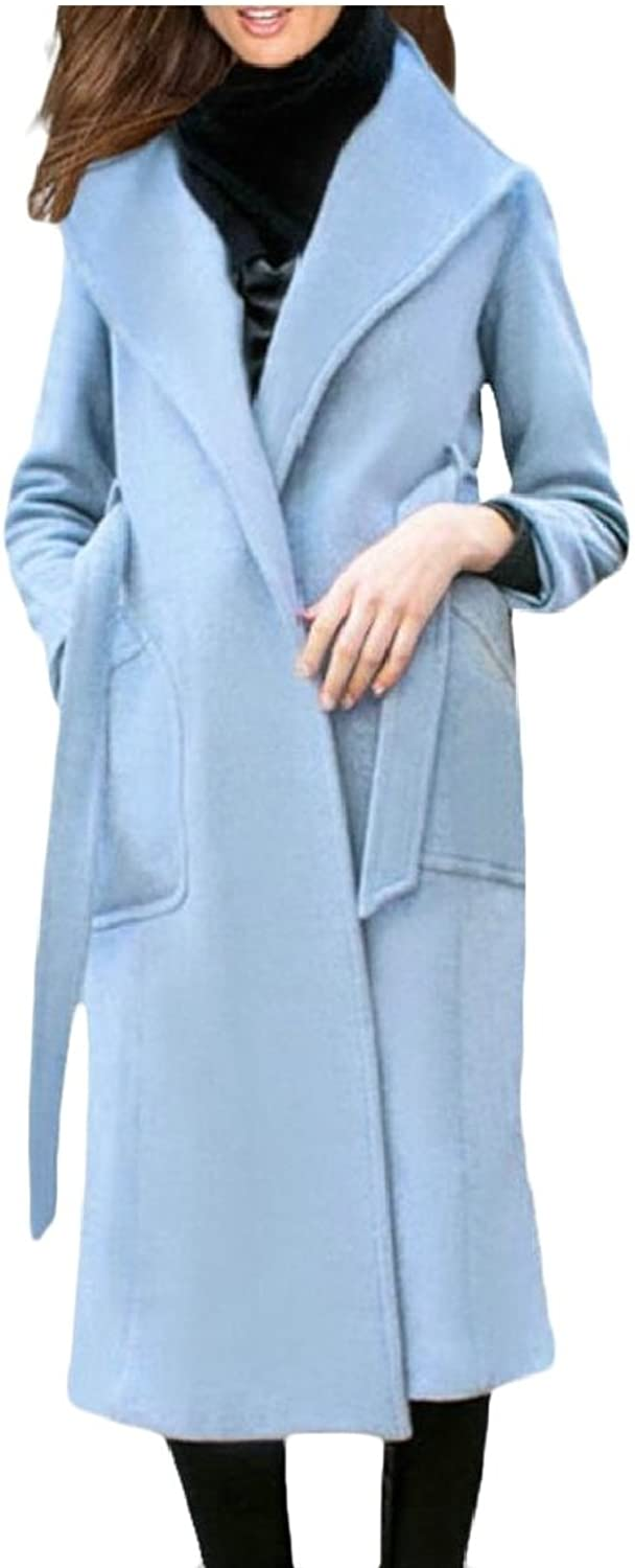 Maweisong Women's Wool Winter Trench Coat Outwears with Belts