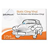StikaMount - Static Cling Vinyl Windscreen Sticker Applicator. Turns Stickers Removable, Repositionable and Reusable from Car to Car Window Clings. Pack of 3 Sheets - 8 Inch x 5 Inch Per Sheet.