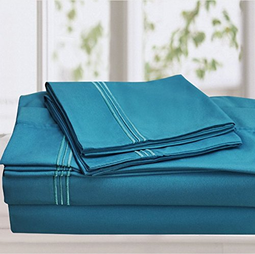 Fancy Collection 4pc Embroidery Bedding Turquoise Sheet Set Queen Size New