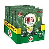 Fairy Original Todo en Uno Limón, 80 Cápsulas Pastillas para Lavavajillas, Eficaces también en grasa cruzada