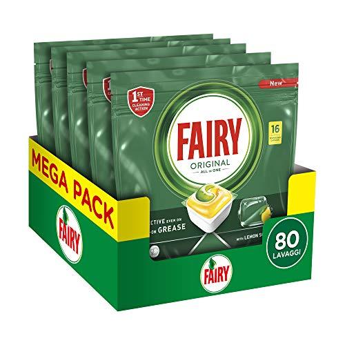 Fairy Original Tutto in Uno Detersivo Capsule Lavastoviglie, 80 Cicli (5 x 16 Pasiglie), Maxi Formato, Limone, Rimuove Persino il Grasso Incrostato