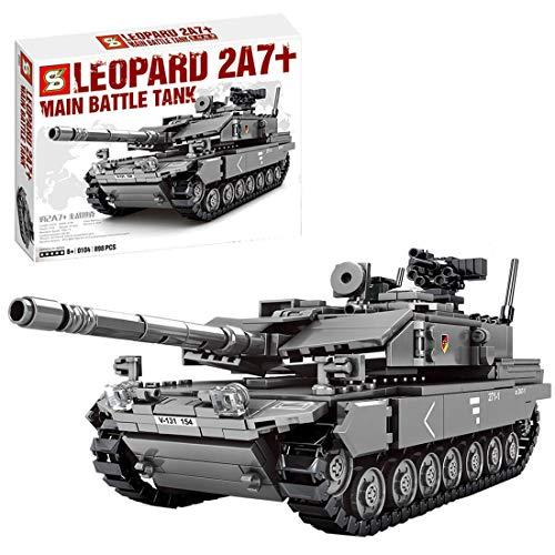 Fujinfeng Tanque Militar Juguete, 898 Piezas Tank Toy Tanque Construcción - Compatible con Lego (Este Producto no es Creado ni Vendido por Lego) - Grey Camouflage Main Battle Tank