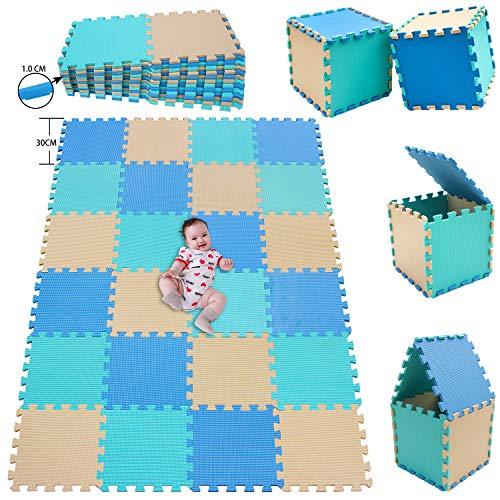 MSHEN 24 Piezas Alfombra Puzzle Bebe con Certificado CE y certificación EVA | Puzzle Suelo Bebe | Puede ser Lavado Goma eva,Tamaño 1.93cuadrado,azul-verde-beige-GHJg24