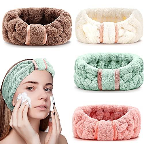 Spa Haarbänder, 4 Stück Spa Stirnband Coral Fleece Makeup Bow Bowknot Haarband Elastic Cosmetic Stirnband zum Waschen der Gesichtsdusche Yoga Sport Hautpflege Make up (SET1)