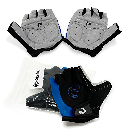 GEARONIC TM Cycling Bike Bicycle Motorcycle Glove Shockproof Foam Padded Outdoor Workout Sports Half Finger Short Gloves - Blue XL