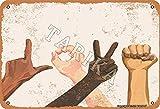 BIGYAK Love Gestures Vintage Look 20 x 30 cm Metal Decoración Letrero Arte para Hogar Cocina Baño Granja Jardín Garaje Citas Inspiradoras Decoración de Pared