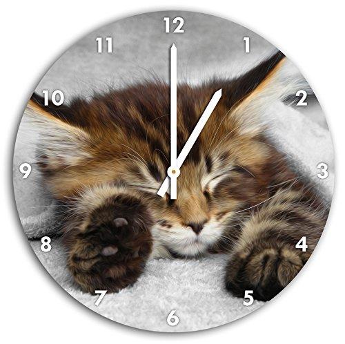 Stil.Zeit schlafende Katze mit großen Ohren schwarz/weiß, Wanduhr Durchmesser 30cm mit weißen Spitzen Zeigern und Ziffernblatt