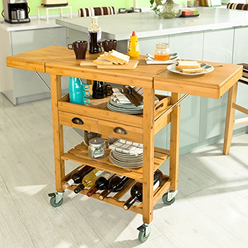 Haotian FKW25-N, Extendable Bamboo Kitchen Trolley Cart with 2 Folding Hinged Side Boards, L65(95/125) xW40xH92cm