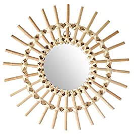 PEGANE Miroir en rotin Soleil – Dim : D30 cm