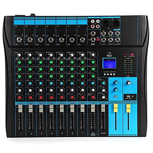Feixunfan Mesa de Mezclas Teléfono Live Broadcast Card Card Home Music Production 6 Canales Mini Mezclador De Audio para Streamers Podcasters (Color : Black, Size : One Size)