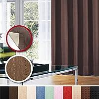 窓美人 センチュリオン 完全遮光 特殊コーティングカーテン 半間用 1枚入 幅100×丈135cm ブラウン ストライプ柄 断熱・遮熱・防音 形状記憶付