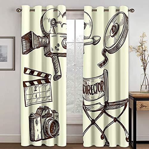 Epinki Cortinas para Habitacion Modernas Película Beige Amarillo Cortina Poliester, Disponible en 21 Tamaños, Talla 214x274CM