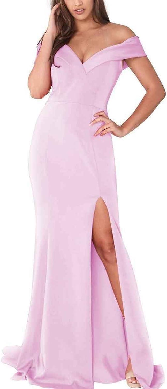 LastBridal Women Deep V Neck High Slit Off Shoulder Mermaid Prom Evening Dresses