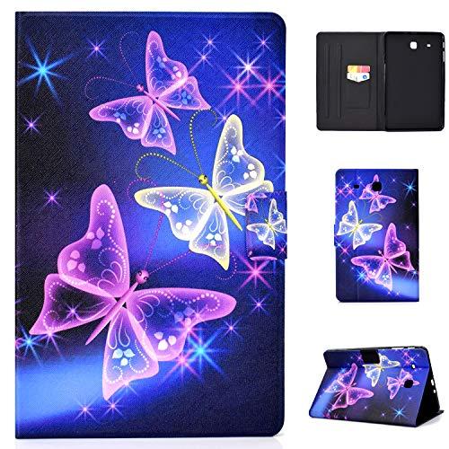 Lspcase Samsung Galaxy Tab E 9.6 Hülle PU Leder Flip Cover Stand Schutzhülle Etui Mit Kartenfächer und Magnetverschluß Tasche Case für Samsung Galaxy Tab E 9.6 Zoll SM-T560 T561 Flash Schmetterling