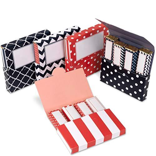 Netti Li Jae ® Aufkleber Set inkl. Mini Schachteln für Merci Schokolade – für 5 personalisierte Geschenke – persönliche Geschenkidee – Dankeschön Geschenke (Orange/Marine)