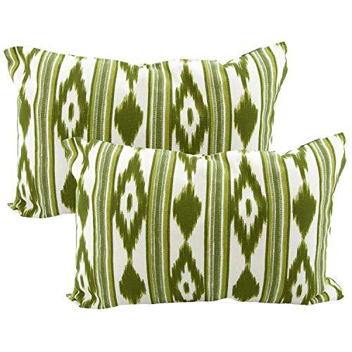 TRESMESTRES Fundas de Cojines 30x50 - Decoración Ikat - Decorativos para Sofá o Almohadas/Almohadones para Cama - Diseño Mediterráneo - Funda Cojín 30 x 50 cm 2 Pack, Verde