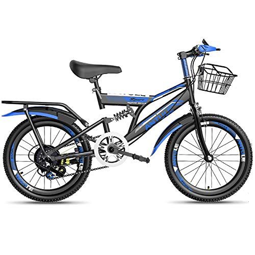 LINGYUN Carbon Steel Variable Speed Mountain Bike, 18/20/22 Inch Boys Kids Bike with Dual Brakes and Shock Absorbers, for Mountain Riding and Outdoor Sports,Blue,18in