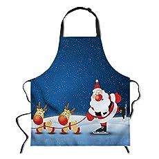 POLERO Christmas Apron - Cartoon Santa with reindeer