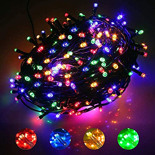 Christmas Tree Lights Multicoloured , KINOLA 25M 250LED Waterproof Fairy String Lights, Long Lead,Plug Powered,8 Modes Multi-Color Waterproof Color led Light String for for Bedroom,