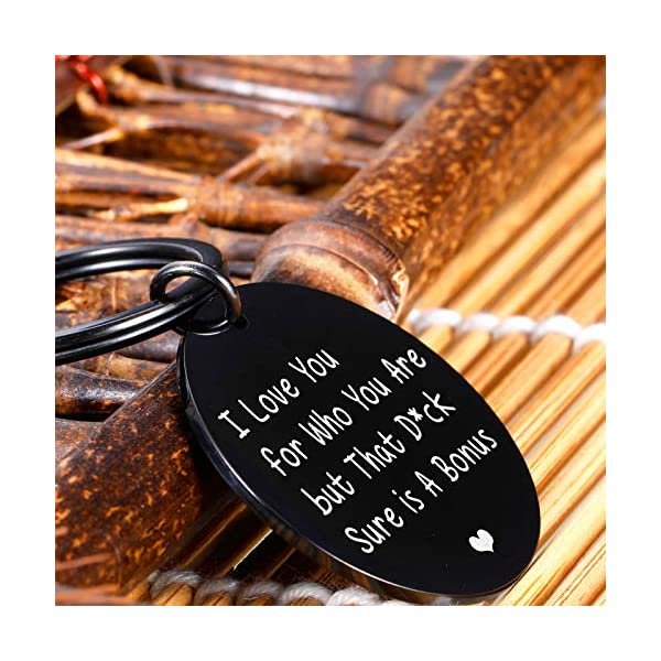 Funny Couple Valentines Gift for Husband Boyfriend Birthday Wedding Anniversary Keychain for Hubby from Wife Girlfriend Stocking Stuffer for Him Men Fiance from Fiancée Bride Gag Keyring
