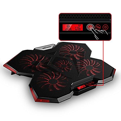 TopMate C7 Base de Refrigeración para Portátiles Gaming de 14-17 Pulgadas | Cinco Ventiladores Grandes y Pantalla Táctil LCD Aire Fuerte 2400 RPM