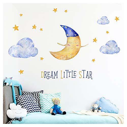 Little Deco Kinderzimmer Aufkleber Bär & Spruch Dream Little Star I 112 x 56 cm (BxH) I Mond und Sterne Wandbilder Wandtattoo Tiere Deko Babyzimmer Junge DL206-18