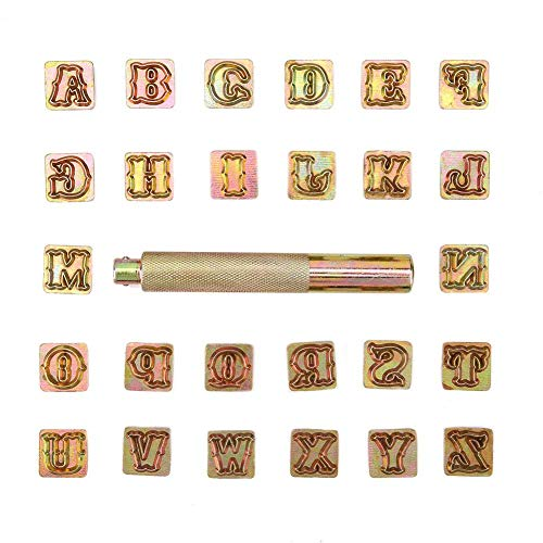 Zoternen metaalstempelset, 26 stuks A~Z letters leer stempel van metaal, 13 mm metaalstempel set met slaghamer voor leer, kunststof en zacht metaal