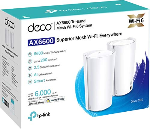 TP-Link Deco X90 AX6600 Wi-Fi 6 WLAN Mesh (Triband 6600Mbit/s, AI-Driven Mesh, 4×interne High-Gain Antennen, ohne Ladenzeiten, kompatibel mit Amazon Alexa, Schnellinstallation, Homeshield, 2Pack)weiß