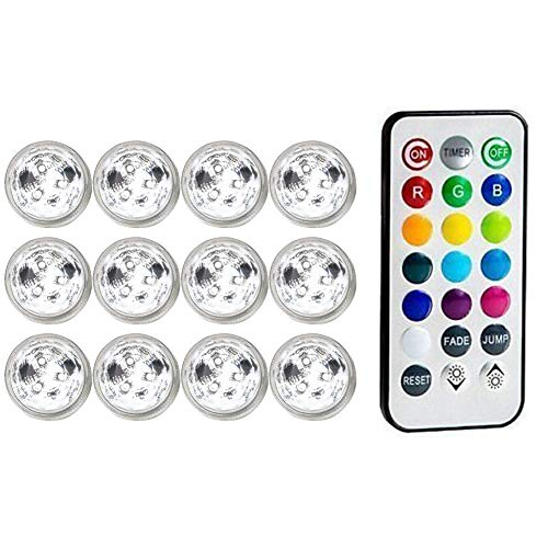 Submersible Led Light Underwater Disco Hot Tub Lights Hot Tub Candle with Remote RGB for Pond Pool Vase Base Fish Tank Garden