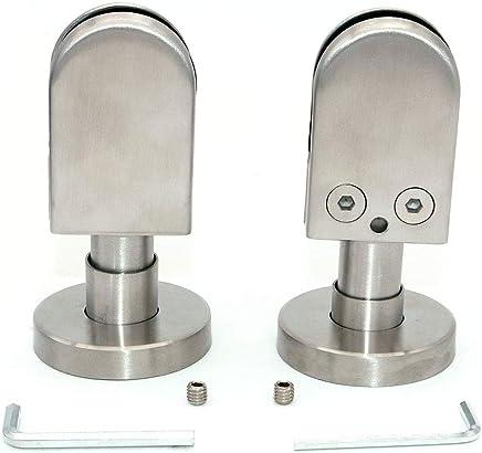 finition satin/ée en acier inoxydable 304 support en verre r/églable /à dos plat pour balustrade escalier cl/ôture de piscine NUZAMAS Lot de 8 pinces en verre pour panneau de verre 10-12 mm