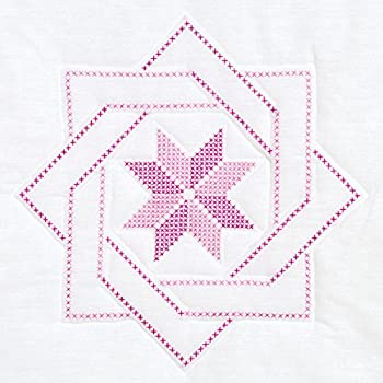 Jack Dempsey Stamped White Quilt Blocks 18 by 18-Inch Woven Star 6-Pack