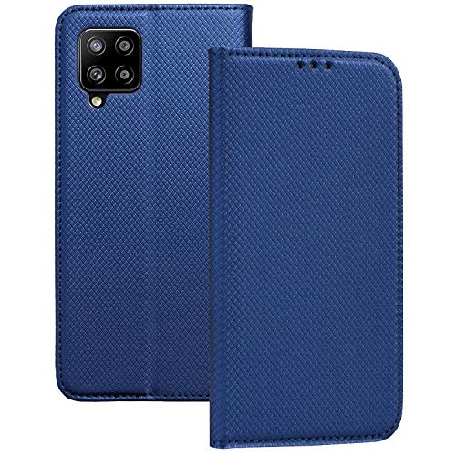 Compatible con Samsung Galaxy A42 5G Funda de Tapa Tipo Libro con Solapa Tarjetero y posición para Visualizar Videos en Negro Dorado o Azul (Azul Intenso)