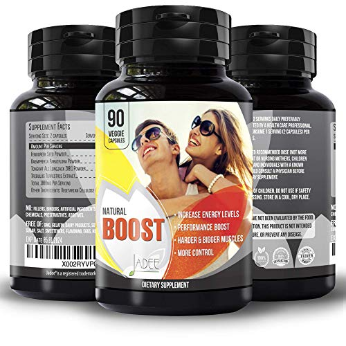 Natural Boost Ultimate Enhancing Pills - Enlargement Formula Promotes Size Increase 2+ inches in 60 Days, 90 Veg Capsules, Strength, Energy, Stamina. All Natural Last Longer Performance Booster