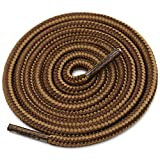 DELELE 2 Pair Round Boot Shoe Laces Shoe Rope Work Hiking Boots Shoelaces Light Brown Coffee Striped Shoe Lace Boot Shoe...