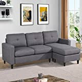 Sectional Sofas for Living Room, Upholstered Convertible Sectional Sofa with Reversible Chaise, 3-Seat L-Shaped Ottoman Couches for Small Space, Modern Linen Fabric/Side Pocket(Gray)