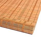 ACXZ Persianas de bambú semitransparentes, Cortina de bambú con Filtro de luz para Interiores y Exteriores, Estor Enrollable de Madera para balcón, Salon, Patio (Color carbonizado Natural)