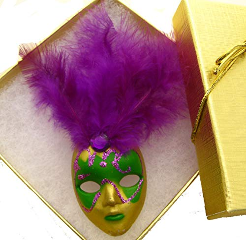 New Orleans Mardi Gras Feather Mask Pin / Brooch / Jewelry SMLGift Party favor Costume Accessory Theme Party favor decor decoration French Quarter Carnival Gift Masker Jester Purple Feather w Gift Box