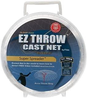 Fitec EZThrow 1000 Super Spreader Cast Net, Clear, 5' Radius, 3/8