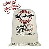 DIY Personalized Santa Sack Large Christmas Presents Sacks Bags with Drawstring 19'x27'+1 Red Satin Ribbon for Xmas Gift Decorations 3/4'x3 Yards