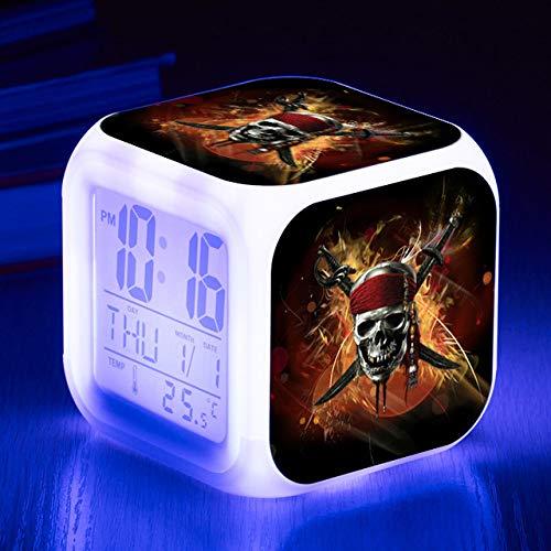 shiyueNB Bedside kind wekker 7 kleuren veranderende nachtlampje kinderen LED digitale wekker cadeau grappig