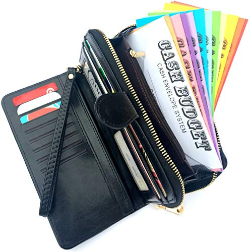 Cash Envelopes Wallet for Budgeting with 12 Budget Envelopes All-in-One Money System Wallet Financial Organizer with Expense Tracking Budget Sheets. (Black)