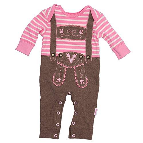 Eisenherz Baby Strampler rosa Langarm mit Druckverschluss im Schritt Lederhose mit Hosenträgerapplikation in Größe 68 - fescher Trachtenlook