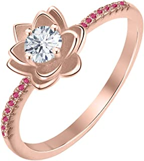 Lotus Flower Round White Diamond & Ruby 14K Gold Plated Women's Engagement Band Ring Sterling Silver